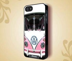 VW MINI BUS PINK - iPhone 4 Case, iPhone 4s Case and iPhone 5 case Hard Plastic Case HNF