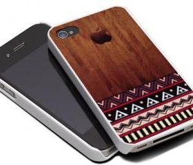WOOD AZTEC PATTERN - iPhone 4 Case, iPhone 4s Case and iPhone 5 case Hard Plastic Case MSH