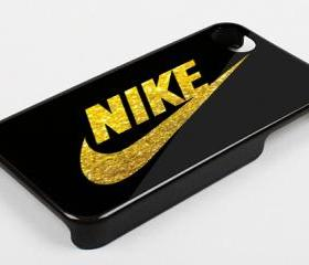 BLACK GOLD LOGO NIKE GLITTER PRINT - iPhone 4 Case, iPhone 4s Case and iPhone 5 case Hard Plastic Case KK