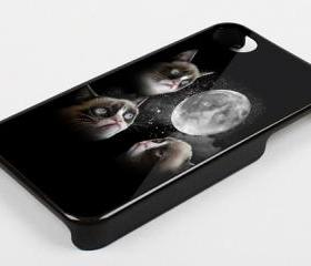 BLACK GRUMPY CAT LOOK MOON - iPhone 4 Case, iPhone 4s Case and iPhone 5 case Hard Plastic Case KK