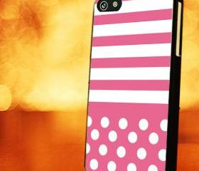 PINK STRIPES WITH POLKA DOT PINK - iPhone 4 Case, iPhone 4s Case and iPhone 5 case Hard Plastic Case LZN