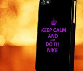 KEEP CALM AND JUST DO IT NIKE PURPLE - iPhone 4 Case, iPhone 4s Case and iPhone 5 case Hard Plastic Case LZN