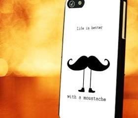 LIFE IS BETTER WITH MUSTACHE - iPhone 4 Case, iPhone 4s Case and iPhone 5 case Hard Plastic Case LZN