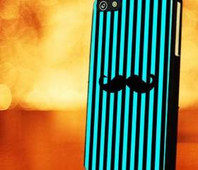STRIP PATTERN WITH BLACK TIFFANY MUSTACHE - iPhone 4 Case, iPhone 4s Case and iPhone 5 case Hard Plastic Case LZN