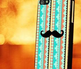 TRIBAL AZTEC WITH MUSTACHE - iPhone 4 Case, iPhone 4s Case and iPhone 5 case Hard Plastic Case LZN