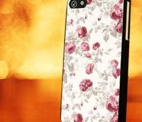 VINTAGE FLOWER PINK ROSE - iPhone 4 Case, iPhone 4s Case and iPhone 5 case Hard Plastic Case LZN