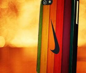 WOOD WITH NIKE COLORFUL - iPhone 4 Case, iPhone 4s Case and iPhone 5 case Hard Plastic Case LZN
