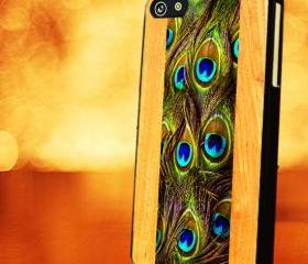 WOOD WITH PEACOCK FEATHER - iPhone 4 Case, iPhone 4s Case and iPhone 5 case Hard Plastic Case LZN