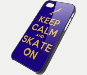 KEEP CALM AND SKATE ON - iPhone 4 Case, iPhone 4s Case and iPhone 5 case Hard Plastic Case SWX