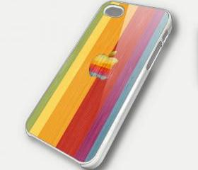 RAINBOW WOOD APPLE - iPhone 4 Case, iPhone 4s Case and iPhone 5 case Hard Plastic Case SWX