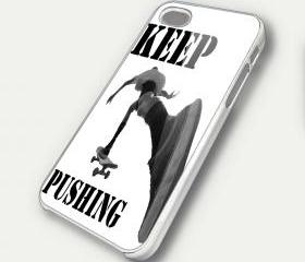 SKATE KEEP PUSHING - iPhone 4 Case, iPhone 4s Case and iPhone 5 case Hard Plastic Case SWX
