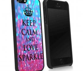 KEEP CALM AND LOVE SPARKLE - iPhone 4 Case, iPhone 4s Case and iPhone 5 case Hard Plastic Case KK