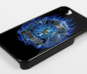 LOG FIRE ALARM BLUE FLAMES - iPhone 4 Case, iPhone 4s Case and iPhone 5 case Hard Plastic Case KK
