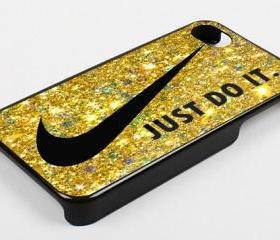 NIKE JUST DO IT GOLD BLING - iPhone 4 Case, iPhone 4s Case and iPhone 5 case Hard Plastic Case KK