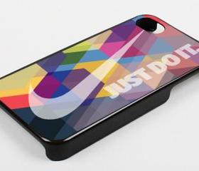 NIKE JUST DO IT RAINBOW PATTERN - iPhone 4 Case, iPhone 4s Case and iPhone 5 case Hard Plastic Case KK