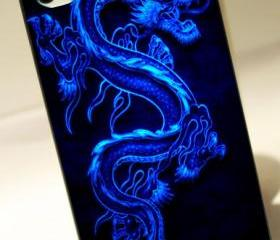 BLUE DRAGON 3D FLASH DESIGN - iPhone 4 Case, iPhone 4s Case and iPhone 5 case Hard Plastic Case OCM